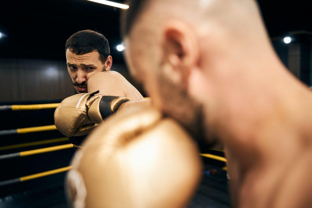 boxeur apeuré pendant un combat